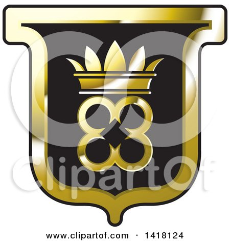 Clipart of a Black and Gold Crown Crest - Royalty Free Vector Illustration by Lal Perera