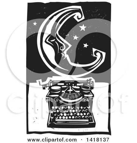 Black and White Woodcut Crescent Moon and Stars over a Typewriter Posters, Art Prints
