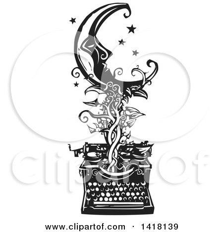Black and White Woodcut Crescent Moon and Stars over a Typewriter with a Vine Posters, Art Prints