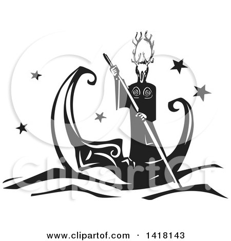Clipart of a Black and White Woodcut Horned Pagan God Rowing a Crescent Moon Boat - Royalty Free Vector Illustration by xunantunich
