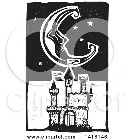Clipart of a Black and White Woodcut Crescent Moon and Stars over a Castle - Royalty Free Vector Illustration by xunantunich