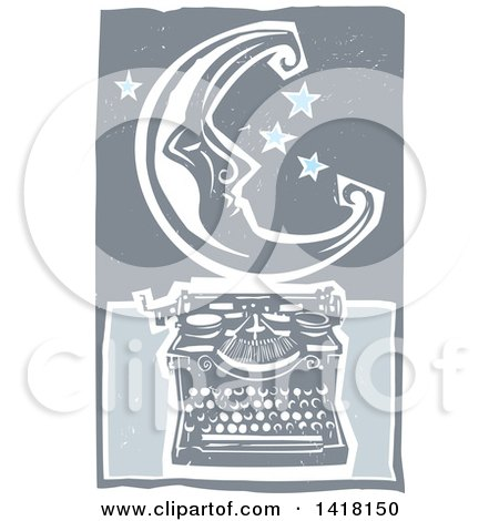 Woodcut Crescent Moon and Stars over a Typewriter Posters, Art Prints