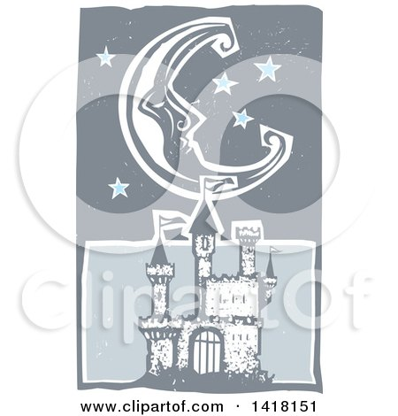 Clipart of a Woodcut Crescent Moon and Stars over a Castle - Royalty Free Vector Illustration by xunantunich