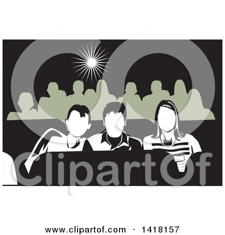 Clipart of a Group of Teenagers at the Movies - Royalty Free Vector Illustration by David Rey