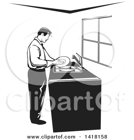 Clipart of a Black and White Man Washing Dishes - Royalty Free Vector Illustration by David Rey