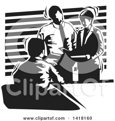 Clipart of a Black and White Business Team Discussing During a Meeting - Royalty Free Vector Illustration by David Rey