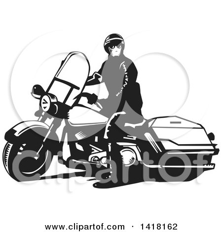 Clipart of a Black and White Police Officer on a Motorcycle - Royalty Free Vector Illustration by David Rey