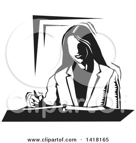 Clipart of a Black and White Woodcut Business Woman Writing - Royalty Free Vector Illustration by David Rey