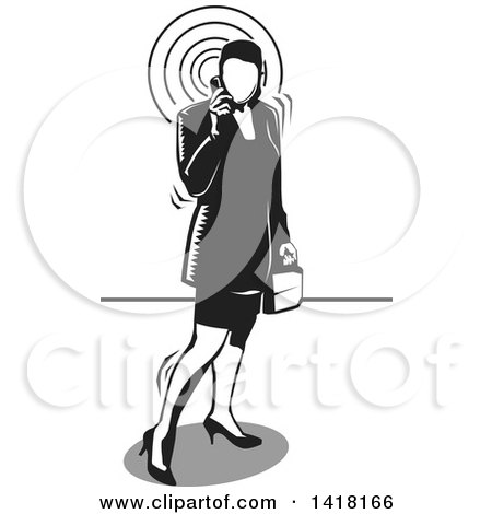 Clipart of a Black and White Woodcut Business Woman Talking on a Cell Phone - Royalty Free Vector Illustration by David Rey
