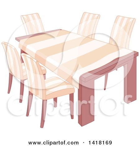 Dining Room Table With A Cloth And Matching Chairs By Pushkin