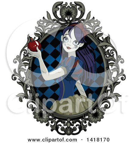 Clipart of a Halloween Zombie Snow White Holding an Apple in a Frame - Royalty Free Vector Illustration by Pushkin