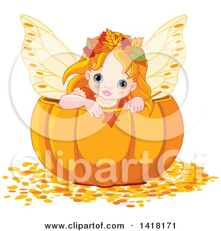 Clipart of a Cute Red Haired Fairy Girl Holding a Wand Inside a Halloween, Thanksgiving or Autumn Pumpkin - Royalty Free Vector Illustration by Pushkin