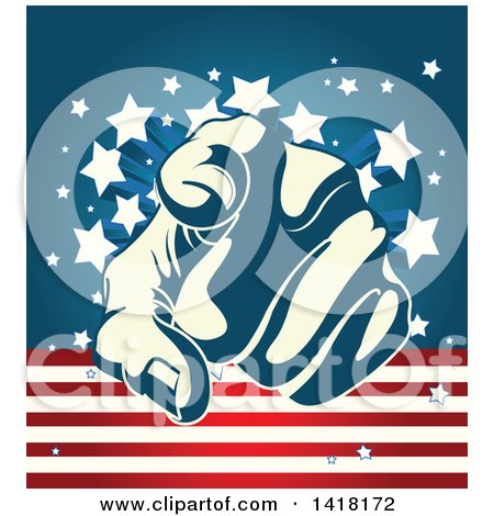 Clipart of a Blue and Pastel Yellow Hand Pointing Outwards over an American Themed Background - Royalty Free Vector Illustration by Pushkin