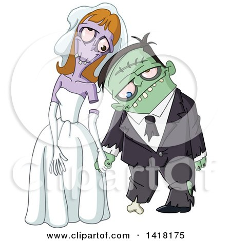 Clipart of a Zombie Wedding Couple - Royalty Free Vector Illustration by yayayoyo