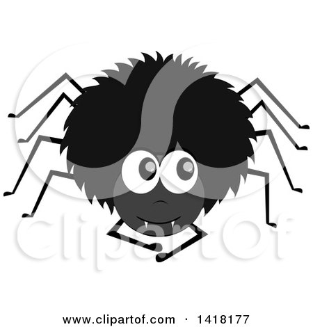 Clipart of a Black Hairy Spider Looking up to the Side - Royalty Free Vector Illustration by Pams Clipart
