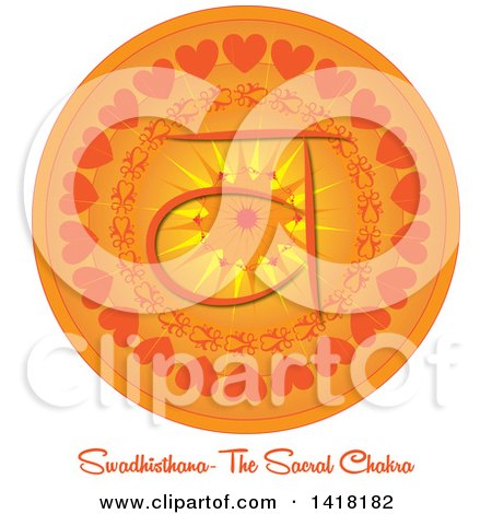 Clipart of a Sacral Swadhisthana Chakra Symbol on an Orange Mandala over Text - Royalty Free Vector Illustration by Pams Clipart