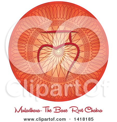 Clipart of a Base Roote Muladhara Chakra Symbol on a Red Mandala over Text - Royalty Free Vector Illustration by Pams Clipart