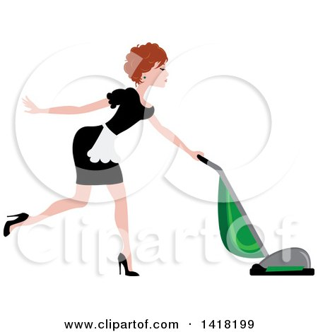 Clipart of a Red Haired Female Maid Vacuuming - Royalty Free Vector Illustration by Pams Clipart