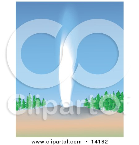 the Old Faithful Cone Geyser Shooting Water in Yellowstone National Park Clipart Illustration by Rasmussen Images