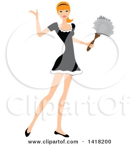 Clipart of a Red Haired Female Maid Presenting and Holding a Feather Duster - Royalty Free Vector Illustration by Pams Clipart
