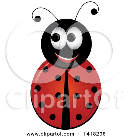 Clipart of a Happy Ladybug - Royalty Free Vector Illustration by Pams Clipart