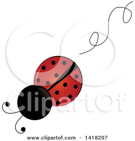 Clipart of a View Above of a Ladybug and a Swirl Trail - Royalty Free Vector Illustration by Pams Clipart