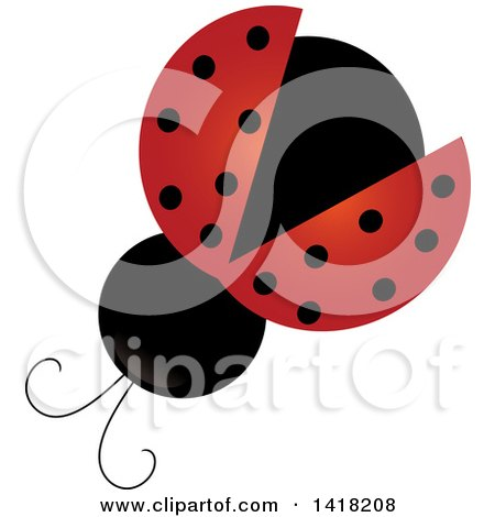 Clipart of a View Above of a Ladybug - Royalty Free Vector Illustration by Pams Clipart