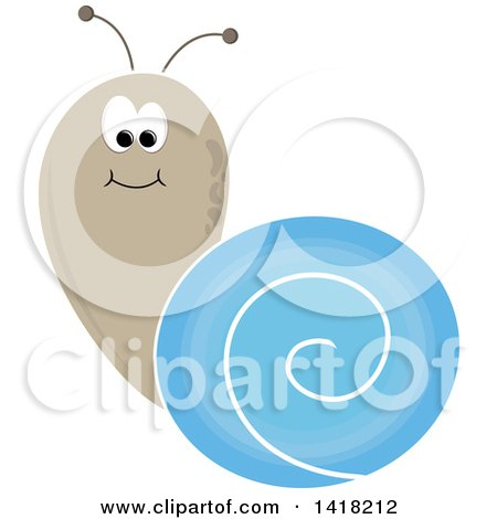 Clipart of a Brown and Blue Snail - Royalty Free Vector Illustration by Pams Clipart