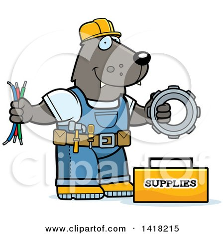 Cartoon Clipart of a Wolf Construction Worker with Tools - Royalty Free Vector Illustration by Cory Thoman