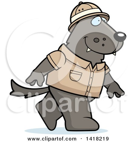 Cartoon Clipart of a Safari Wolf Walking - Royalty Free Vector Illustration by Cory Thoman