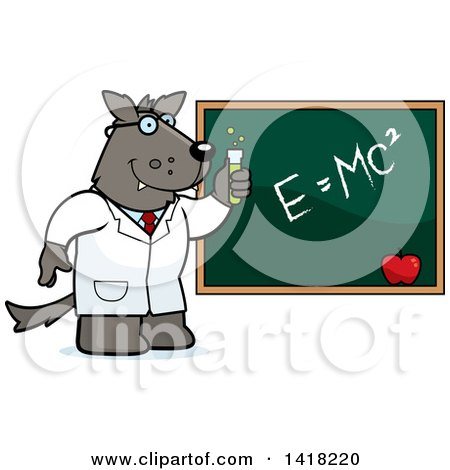 Cartoon Clipart of a Professor or Scientist Wolf by a Chalkboard - Royalty Free Vector Illustration by Cory Thoman