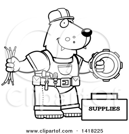 Cartoon Clipart of a Black and White Lineart Wolf ...