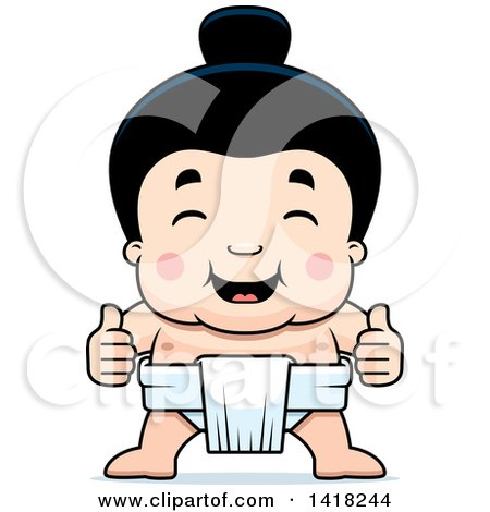 Cartoon Clipart of a Little Sumo Wrestler Giving Two Thumbs up - Royalty Free Vector Illustration by Cory Thoman