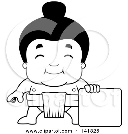 Cartoon Clipart of a Black and White Lineart Little Sumo Wrestler Standing with a Blank Sign - Royalty Free Vector Illustration by Cory Thoman