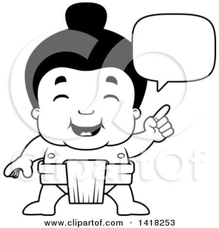 Cartoon Clipart of a Black and White Lineart Little Sumo Wrestler Talking - Royalty Free Vector Illustration by Cory Thoman