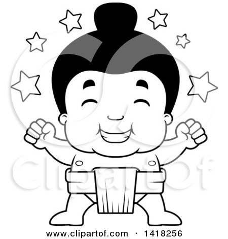 Cartoon Clipart of a Black and White Lineart Little Sumo Wrestler Winner with Stars - Royalty Free Vector Illustration by Cory Thoman