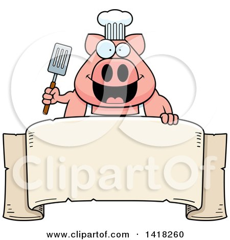 Cartoon Clipart of a Chef Pig Holding a Spatula over a Banner - Royalty Free Vector Illustration by Cory Thoman