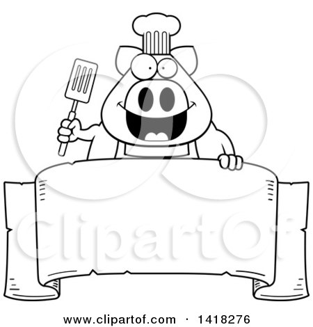 Cartoon Clipart of a Black and White Lineart Chef Pig Holding a Spatula over a Banner - Royalty Free Vector Illustration by Cory Thoman