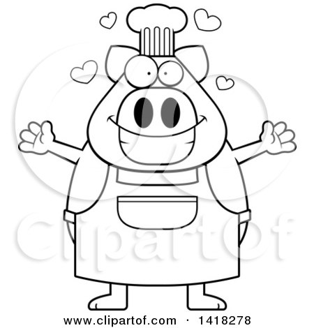 Cartoon Clipart of a Black and White Lineart Chef Pig Wanting a Hug - Royalty Free Vector Illustration by Cory Thoman