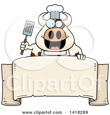 Cartoon Clipart of a Chef Cow Holding a Spatula over a Banner - Royalty Free Vector Illustration by Cory Thoman