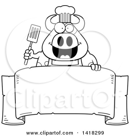 Cartoon Clipart of a Black and White Lineart Chef Cow Holding a Spatula over a Banner - Royalty Free Vector Illustration by Cory Thoman