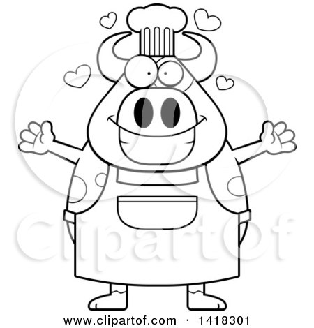 Cartoon Clipart of a Black and White Lineart Chef Cow Wanting a Hug - Royalty Free Vector Illustration by Cory Thoman