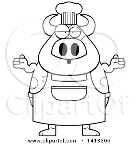 Cartoon Clipart of a Black and White Lineart Careless Chef Cow Shrugging - Royalty Free Vector Illustration by Cory Thoman