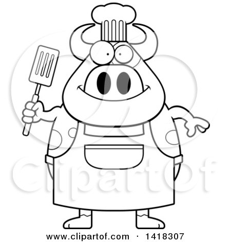 Cartoon Clipart of a Black and White Lineart Chef Cow Holding a Spatula - Royalty Free Vector Illustration by Cory Thoman