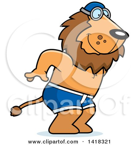 Cartoon Clipart of a Swimmer Lion Diving - Royalty Free Vector Illustration by Cory Thoman