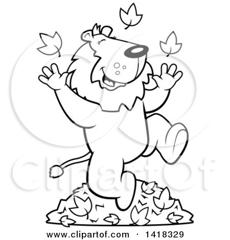 Cartoon Clipart Of A Black And White Lineart Happy Lion Playing In