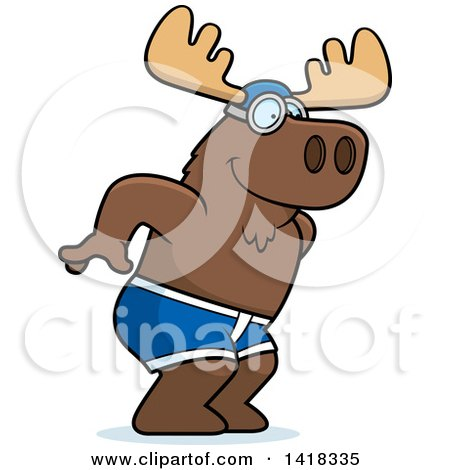 Cartoon Clipart of a Swimmer Moose Diving - Royalty Free Vector Illustration by Cory Thoman