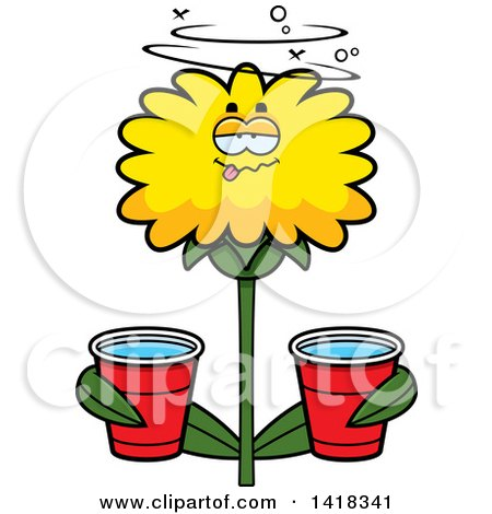 Cartoon Clipart of a Drunk Dandelion Flower Holding Cups - Royalty Free Vector Illustration by Cory Thoman