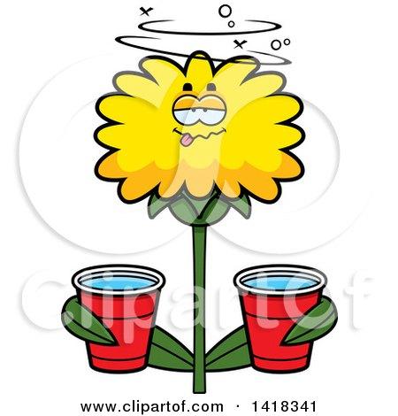 Drunk Dandelion Flower Holding Cups Posters, Art Prints