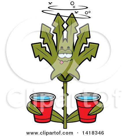 Cartoon Clipart of a Drunk Cannabis Leaf Leaf Holding Cups - Royalty Free Vector Illustration by Cory Thoman